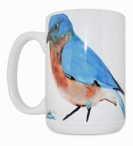 Blue Bird Navajo Art by Lajasta Wauneka 15 Oz Mug (Right Side)