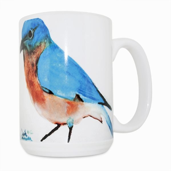 Blue Bird Navajo Art by Lajasta Wauneka 15 Oz Mug (Left Side)