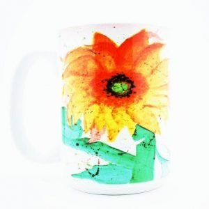 """Sun Flower"" Navajo Art on a 15 Oz Classic Mug"