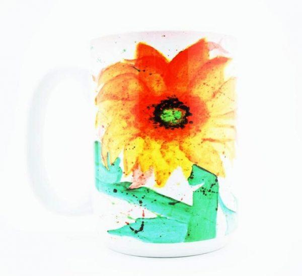 """Sun Flower"" Navajo Art on a 15 Oz Classic Mug"