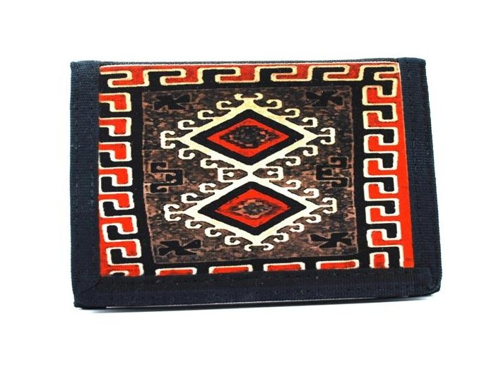 Navajo Ganado Red Rug Design on a Tri-Fold Wallet