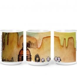 """AM Herd Out"" Navajo Art on 15 Ounce White Coffee Mug"