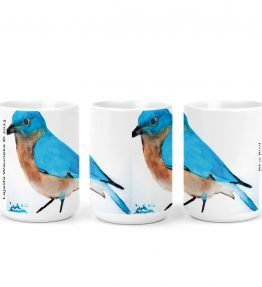 """Blue Bird"" Navajo Art on 15 Ounce White Coffee Mug"