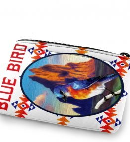 """Blue Bird in Shiprock"" Navajo Art on a Coin Purse"