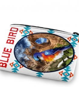 """Blue Bird in Window Rock"" Navajo Art on a Coin Purse"