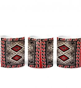 """Ganado Red Rug"" Navajo Art on 11 Ounce White Coffee Mug"