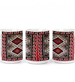 """Ganado Red Rug"" Navajo Art on 15 Ounce White Coffee Mug"