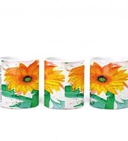 """Sun Flower"" Navajo Art on 11 Ounce White Coffee Mug"