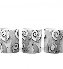 """Whirly Warriors"" Navajo Art on 11 Ounce White Coffee Mug"