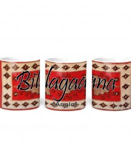 """Bilagaana (Anglo)"" Navajo Clan with Red Rug Background on 11 Ounce White Coffee Mug"