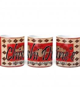 """Chishi Dine'e (Chiricahua Apache)"" Navajo Clan with Red Rug Background on 11 Ounce White Coffee Mug"
