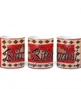 """Biih Bitoodnii (Deer Spring)"" Navajo Clan with Red Rug Background on 11 Ounce White Coffee Mug"