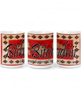 """Biih Bitoodnii (Deer Spring)"" Navajo Clan with Red Rug Background on 15 Ounce White Coffee Mug"