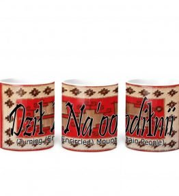 """Dzil Na'oodilnii (Turning Encircled Mountain People)"" Navajo Clan with Red Rug Background on 11 Ounce White Coffee Mug"