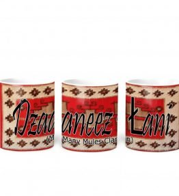 """Dzaaneez lani (Many Mules)"" Navajo Clan with Red Rug Background on 11 Ounce White Coffee Mug"