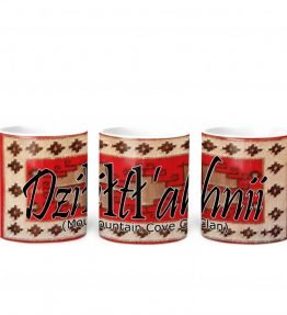 """Dziltl'ahnii (Mountain Cove)"" Navajo Clan with Red Rug Background on 11 Ounce White Coffee Mug"