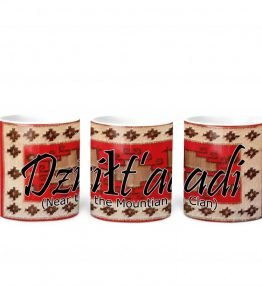 """Dzilt'aadi (Near the Mountain)"" Navajo Clan with Red Rug Background on 11 Ounce White Coffee Mug"