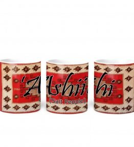 """Ashiihi (Salt People)"" Navajo Clan with Red Rug Background on 11 Ounce White Coffee Mug"