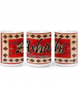 """Ashiihi (Salt People)"" Navajo Clan with Red Rug Background on 15 Ounce White Coffee Mug"