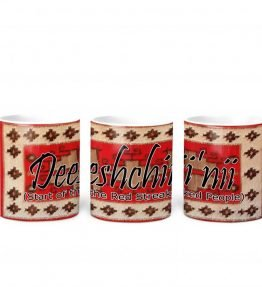 """Deeshchii'nii (Start of the Red Streaked People)"" Navajo Clan with Red Rug Background on 11 Ounce White Coffee Mug"