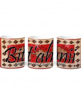 """Bit'ahnii (Under His Cover)"" Navajo Clan with Red Rug Background on 11 Ounce White Coffee Mug"