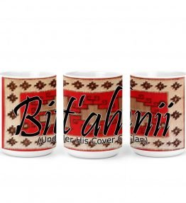 """Bit'ahnii (Under His Cover)"" Navajo Clan with Red Rug Background on 15 Ounce White Coffee Mug"