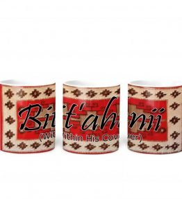 """Bit'ahnii (Within His Cover)"" Navajo Clan with Red Rug Background on 11 Ounce White Coffee Mug"