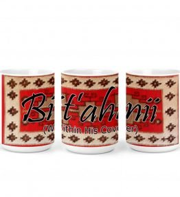 """Bit'ahnii (Within His Cover)"" Navajo Clan with Red Rug Background on 15 Ounce White Coffee Mug"