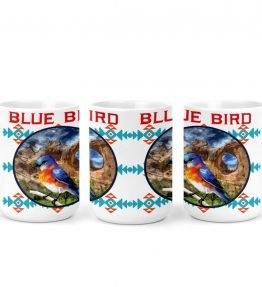 """Blue Bird in Window Rock"" Navajo Art on 15 Ounce White Coffee Mug"
