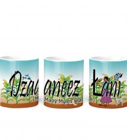 """Dzaaneez lani (Many Mules)"" Navajo Clan 11 Oz Mug with Harvest the Corn Background"