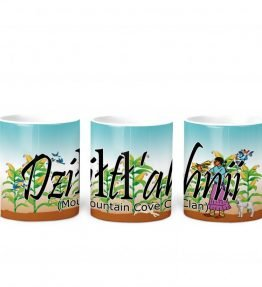 """Dziltl'ahnii (Mountain Cove)"" Navajo Clan 11 Oz Mug with Harvest the Corn Background"