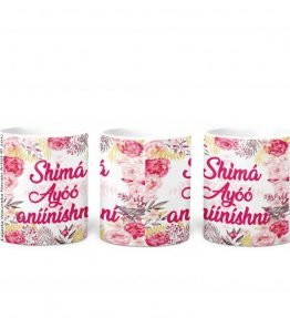 """Shima Ayoo aniinishni"" with Pink Flowers Background 11 Ounce White Coffee Mug"