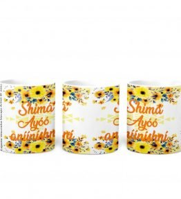 """Shima Ayoo aniinishni"" with Yellow Flowers Background 11 Ounce White Coffee Mug"
