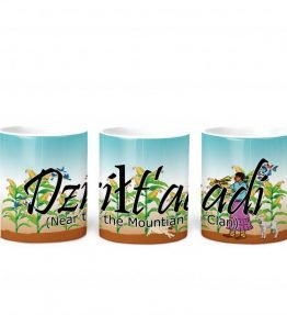 """Dzilt'aadi (Near the Mountain)"" Navajo Clan 11 Oz Mug with Harvest the Corn Background"