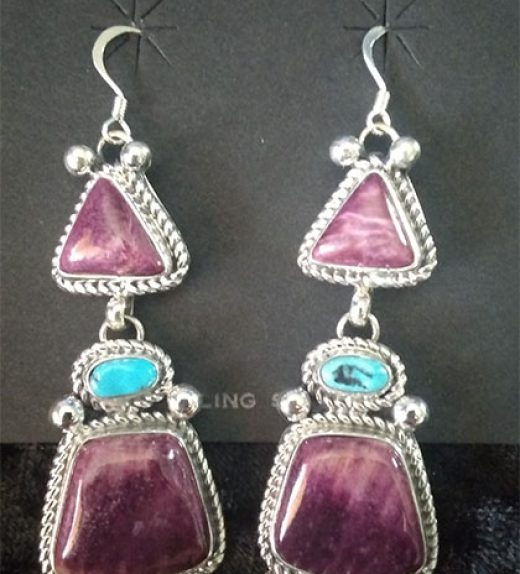 Purple Spiney and Turq Earrings