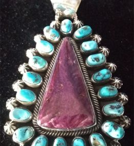 Purple Spiney Oyster and Sleeping Beauty Turquoise Cluster Pendant
