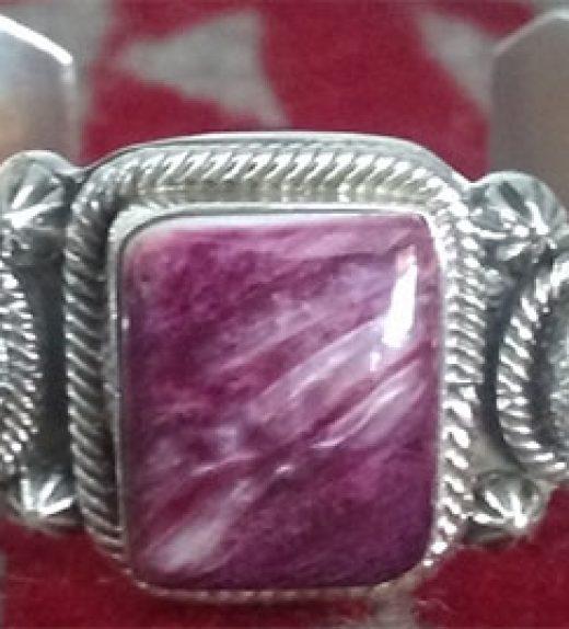 Rnd Turq and Sq Purple Spiney Row Bracelet