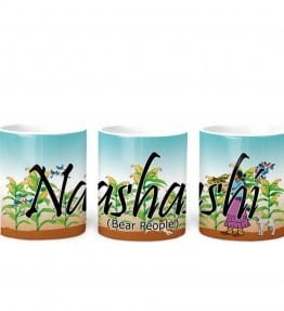 """Naashashi Dine'e (Bear People)"" Navajo Clan 11 Oz Mug with Harvest the Corn Background"