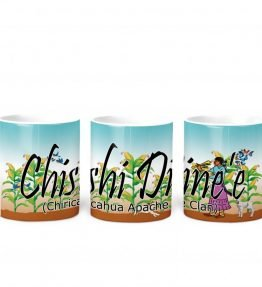 """Chishi Dine'e (Chiricahua Apache)"" Navajo Clan 11 Oz Mug with Harvest the Corn Background"
