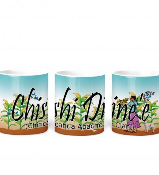 chiricahua apache w Turq BG 11 oz mug