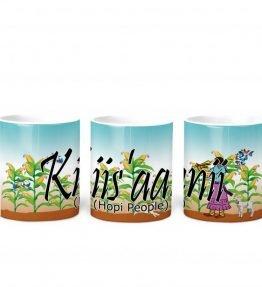 """Kiis'aanii (Hopi)"" Navajo Clan 11 Oz Mug with Harvest the Corn Background"