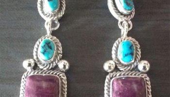 Purple and Sleeping Beauty Turquoise Cluster Dangle Earrings