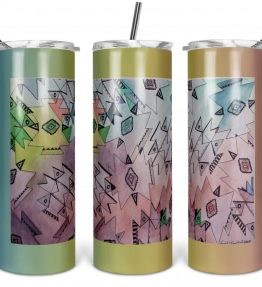 """Above and Beyond"" Navajo Art on 20oz Stainless Steel Tumbler with Straw"
