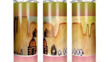 """AM Herd Out"" Navajo Art on 20oz Stainless Steel Tumbler with Straw"
