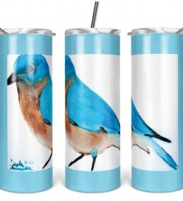"""Blue Bird"" Navajo Art on 20oz Stainless Steel Tumbler with Straw"