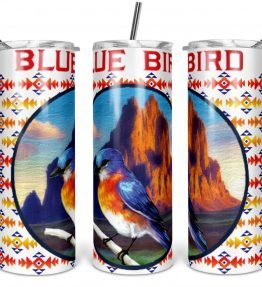 """Blue Bird in Shiprock"" Navajo Art on 20oz Stainless Steel Tumbler with Straw"