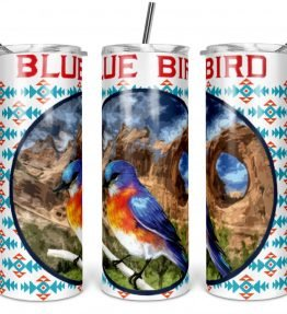 """Blue Bird in Window Rock"" Navajo Art on 20oz Stainless Steel Tumbler with Straw"