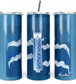"""Blue Corn"" Navajo Art on 20oz Stainless Steel Tumbler with Straw"