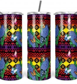 """Butterflies Repose"" Navajo Art on 20oz Stainless Steel Tumbler with Straw"