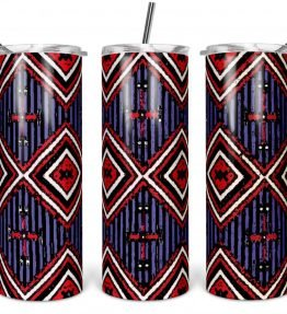 """Chief's Rug"" Navajo Art on 20oz Stainless Steel Tumbler with Straw"